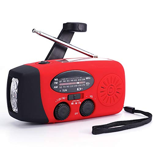 FM/AM/NOAA Weather Radio Hand Crank Self Powered Solar Emergency Radios with 3 LED Flashlight 1000mAh Power Bank Smart Phone Charger