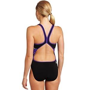 Speedo Women's Mercury Splice Endurance+ Drop-Back One-Piece Swimsuit, Black/Purple, 28