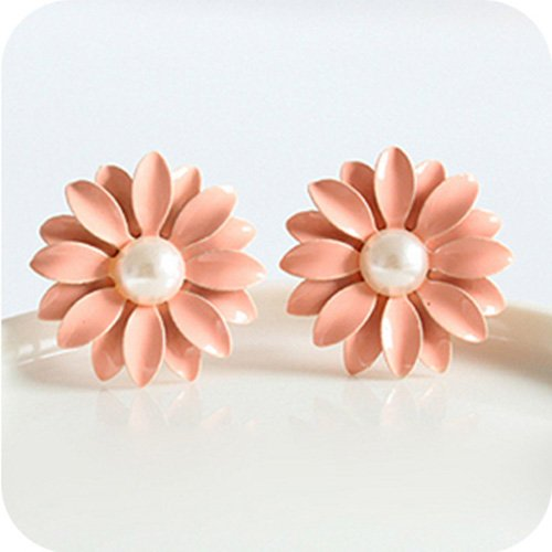 Lovely Cute Pink Daisy Flower with Pearl Stud Earrings