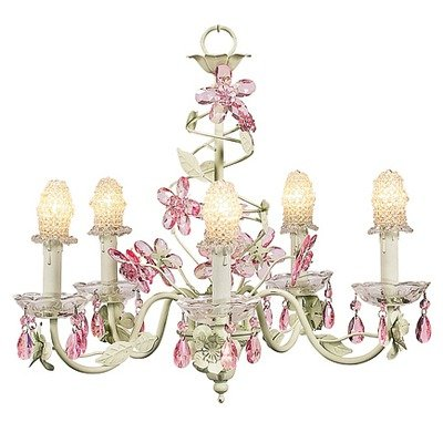 Jubilee Collection 7306-2056 5 Arm Crystal Flower Pink Chandelier with White Petal Flower Shade Arm White Flower Crystal Chandelier