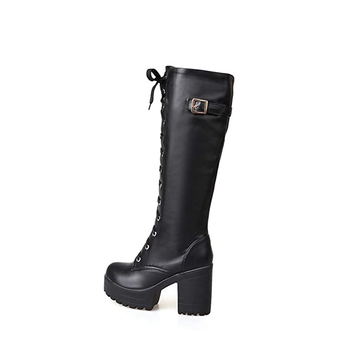 87822dc7d66d9 Amazon.com | Gothic Square Chunky Block High Heels Riding Boots Women Lace  Up Thick Platform Rock Punk Cosplay Knee High Boots Shoes | Knee-High