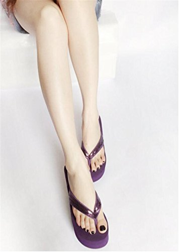 ACE SHOCK Womens Paillette Platform High Heel Wedges Sandals Thong Slippers Dark Purple CmhEdTu7J