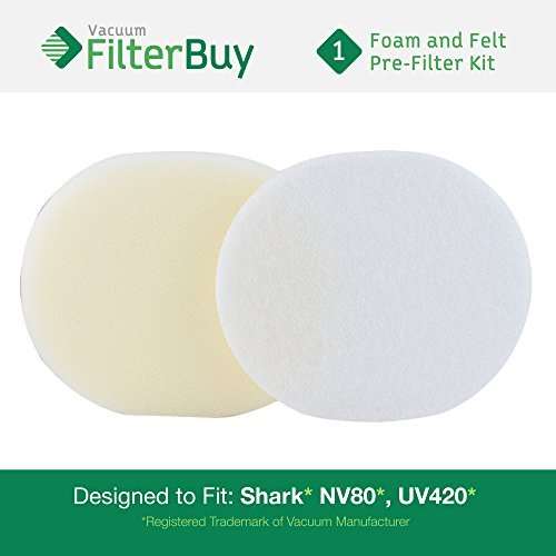 FilterBuy Shark NV80 Foam & Felt Filter Replacement Kit, Part # XFF80. Designed to fit Shark Navigator Pro Upright Vacuum Models NV80, UV420 & NV70.