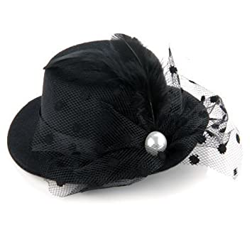Black Feather Lace Hair Clip Mini Top Hat Party Cosplay