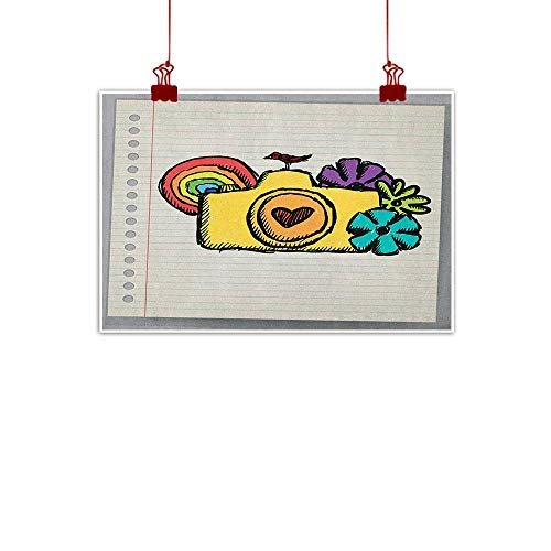 Anyangeight Canvas Prints Wall Art Doodle,Yellow Camera with Flowers of Many Colors Mini Bird Rainbow on Notebook, Earth Yellow Multicolor 48