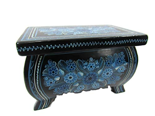 The Reliquary of Treasures Olinala Hand Lacquered & Painted Carved Incised Large Rectangular Footed Lacquerware Wooden Jewelry Trinket Stash Box Crafted in Guerrero, Mexico (Blue ()