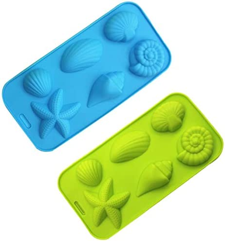 KIUATSJR Ice Cube Trays Silicone Mold for Ice, Jelly, Chocolate and Soap - 6 Starfish Conch Shell Shape Ice Mold, Set of 2