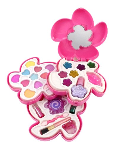 Liberty Imports Petite Girls Cosmetics Play Set - Washable and Non Toxic - Princess Real Makeup Kit with Case - Ideal Gift for Kids (Lily) ()