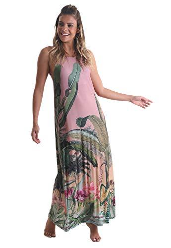 Vestido longo Floral - Nude P