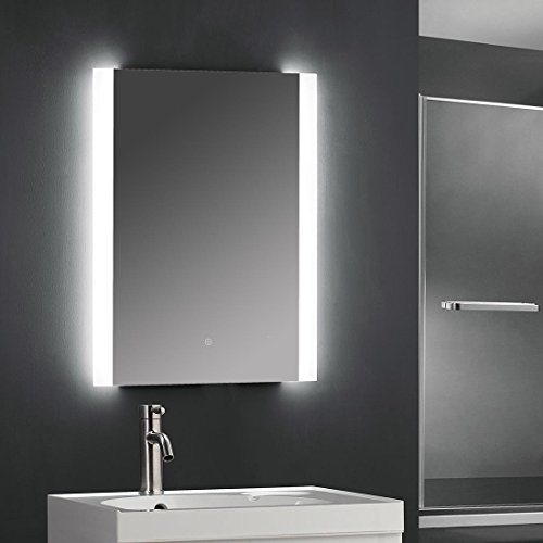 "SUNNY SHOWER 24"" W x 32"" H Backlit Led Bathroom Vanity Sink Silvered 4mm Mirror with Touch Button by SUNNY SHOWER"