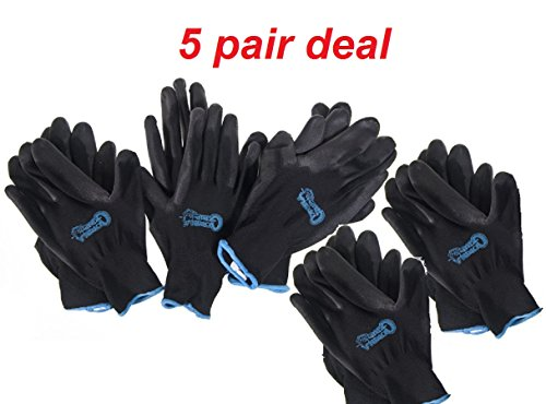 Grease Monkey Large Black Gorilla Grip Gloves (5-Pack) (Gorilla Gloves)