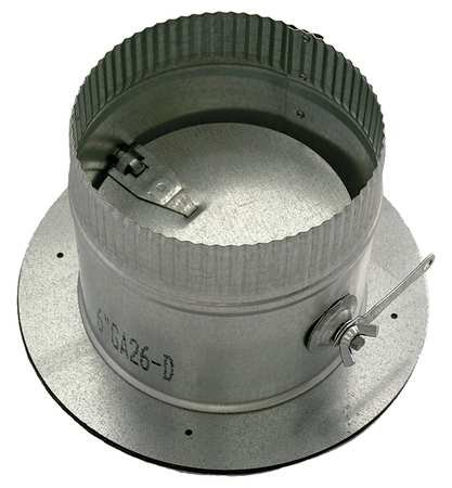 Galvanized Steel Collar W/Damper, 7'' Duct Fitting Diameter, 5'' Duct Fitting Length