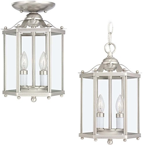 Bretton 2 Light (Sea Gull Lighting 5232-962 Bretton Two-Light Semi-Flush Convertible Pendant with Clear Glass Panels, Brushed Nickel Finish)