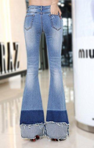 Annata Azzurro 70s Esteso Donne Denim 60s Edizione Uk Women's Jeans Mena Flared Sottile Elastico OwXUqCnx