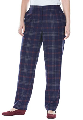 Plaid Wool Pants (Jessica London Women's Plus Size Straight Leg Wool Pants Navy Plaid,16)
