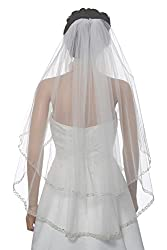 """2T 2 Tier Dual Edge Embroided Pearl Crystal Beaded Veil Fingertip Length 36"""""""