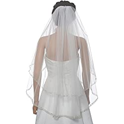 "2T 2 Tier Dual Edge Embroided Pearl Crystal Beaded Veil - White Fingertip Length 36"" V452"