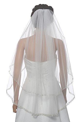 (2T 2 Tier Dual Edge Embroided Pearl Crystal Beaded Veil - White Fingertip Length 36