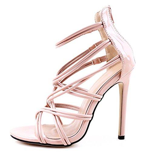 LINYI Sandalias De Las Mujeres Tacones De Aguja Nuevo Pasarela Tobillo Correa Zapatos Tacones Altos apricot