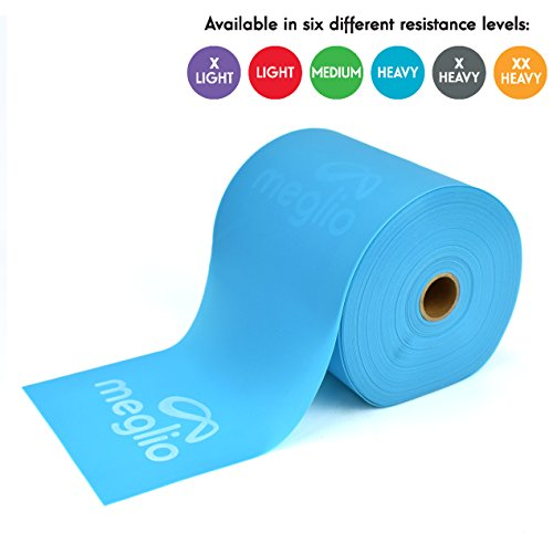 Meglio Latex Free Resistance Band 25 & 50 Yard Roll - Elastic Bands Latex Free for Physical Therapy, Strength Training, Pilates, Yoga, Home Workouts & Rehabilitation