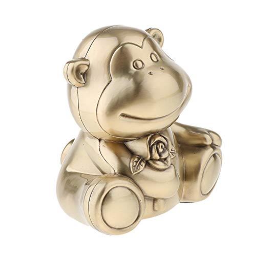(Flameer Rose Flower Monkey Shape Money Safes Piggy Bank Zinc Alloy Room Display Box - Large Golden, as described)
