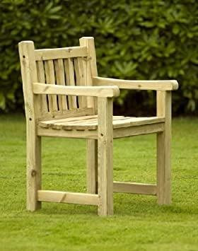 Athol Carver Chunky Wooden Garden Chair Amazoncouk Garden Outdoors