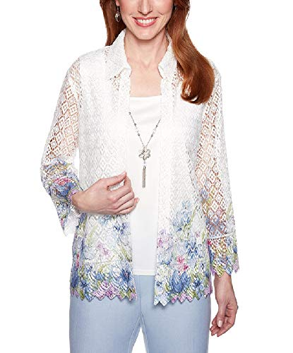 Alfred Dunner Women's South Hampton Lace Floral Border Two for One Top (X-Large)