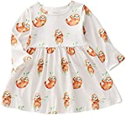 Borlai Baby Girl Dresses Animal Sloth Print Dress Tutu Sundress Party Long Sleeve Dress