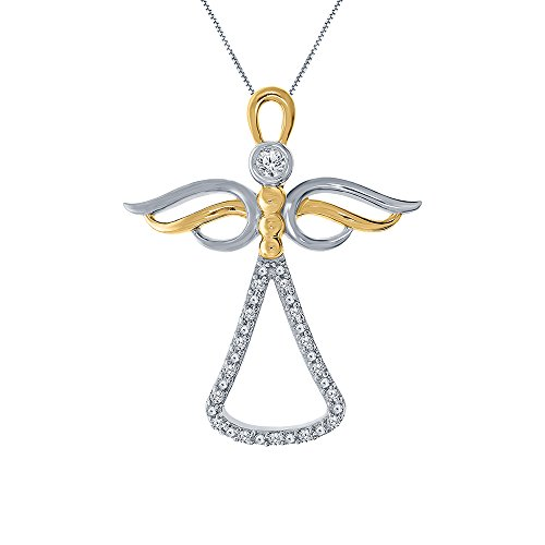 (1/10ct Angel Round White Natural Diamond 10K Yellow Gold Angel Pendant Diamond Necklace For Womens Teens Mens)