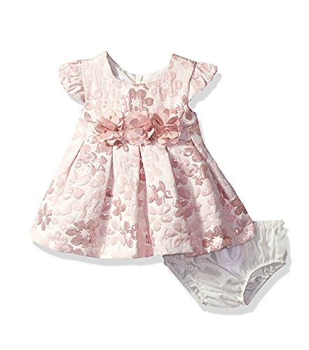 Bonnie Baby Baby Short Sleeved Brocade Dress , Pink, 3-6 - Pink Brocade Dress