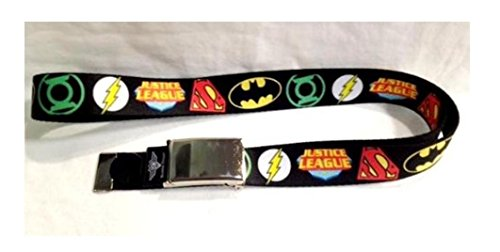 DC Comic Justice League Logo Chrome Clamp Belt (Fit kids and Adult) 1.25