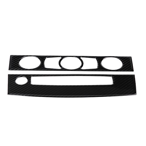 Qiilu Carbon Fiber Car Interior Front Air Conditioner Outlet CD Control Frame Cover Trim for BMW E60(08-10 A)