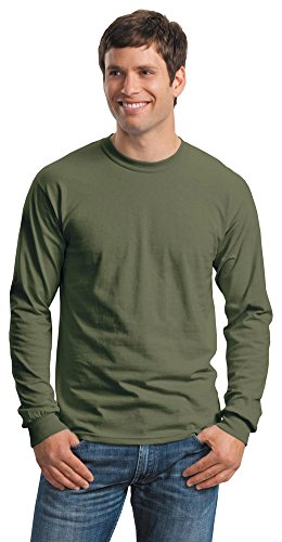 Gildan Mens Ultra Cotton 100% Cotton Long Sleeve T-Shirt, Large, Military Green