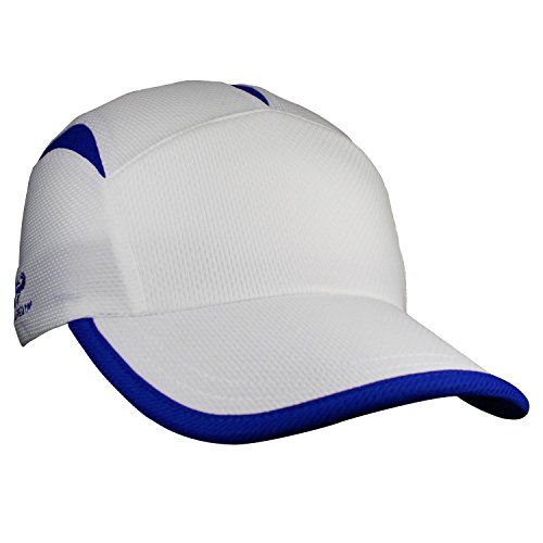 Triathlon Running Hat (Headsweats Go Hat, White/Royal (One Size))