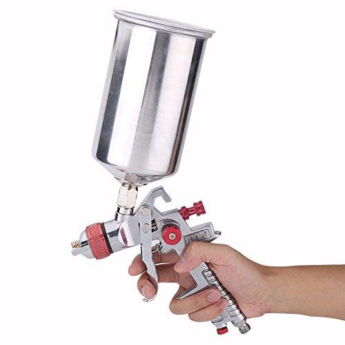 1.4mm Nozzle Paint Gun Spray Paint Gun HVLP Paint Gun Air Spray Paint Gun Global Brand HVLP Spray Gun Set HVLP Gravity Feed Air Spray Gun Kit + gas pressure regulator (aluminum pot 1000cc capacity) by Keenso