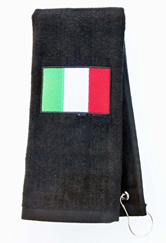 Mana Trading Custom Personalized Embroidered Golf Towel ITALIAN FLAG (Black)