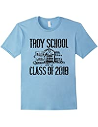 Troy School Class Of 2018 T Shirt Distressed Black Text