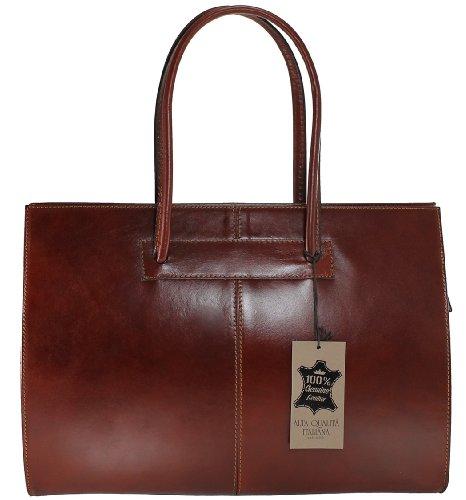 Sac porte véritable avec en pour Italie 40x30x12cm documents professionnels cuir poignées Brun 100 Fabriqué de MC femmes xrqYf7wrF
