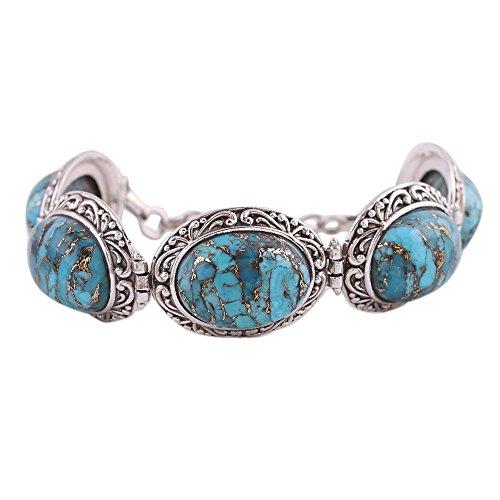 (NOVICA Reconstituted Turquoise .925 Sterling Silver Link Bracelet, 7.75