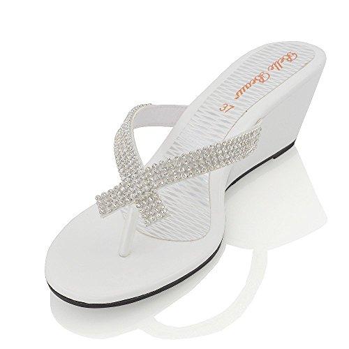 Sandalo Con Zeppa Sintetica A Punta Smussata Con Diamante Scintillante