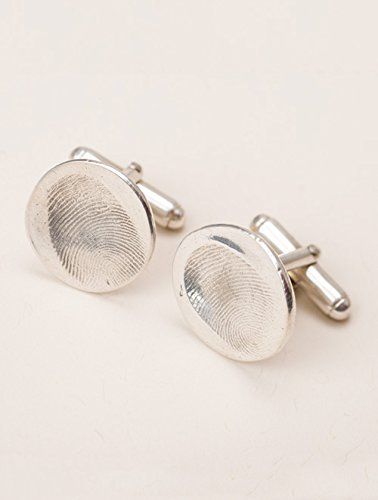 Custom silver fingerprint cuff links. by Precious Metal Prints