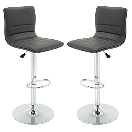 Vogue Furniture Direct Grey Leather Barstool Set (Set of 2) VF1581025… For Sale