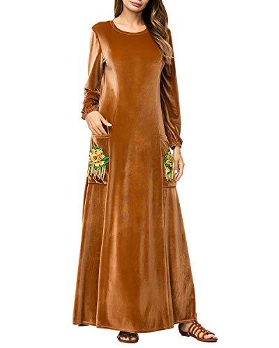 Ocasional Maxi Las De Con Bolsillo Vestido Mujeres Del Xl Manga El Largo color Size La Elegante Brown Jiuyizhe Bordado Brown txFPw8q