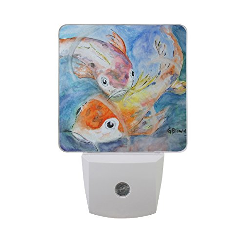 LEDVIE Koi Fish Plug in Dusk to Dawn Light Sensor LED Night Light Wall Light for Bedroom, Baby's Kids Room,Hallway, Stairs, Energy Efficient ()
