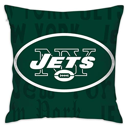 Gdcover Custom Colorful York Jets Pillow Covers Standard Size Throw Pillow Cases Decorative Cotton Pillowcase Protecter Zipper - 18x18 Inches