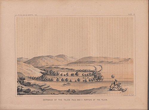USPRR Survey 1853-4 lithograph Entrance Tejon Pass & portion of Tejon - Ca Tejon