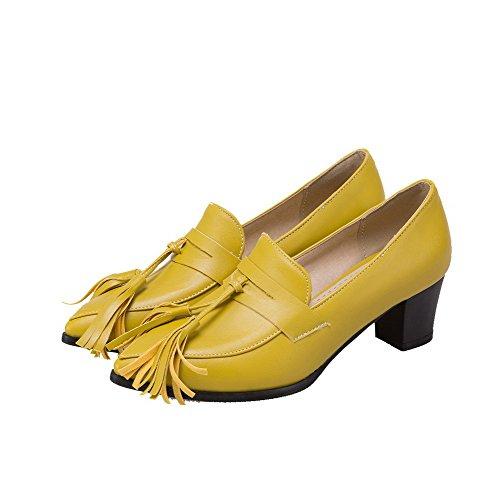 Amoonyfashion Damesschoenen Pu Punt-teen Kitten-hakken Pull-on Stevige Pumps-schoenen Geel