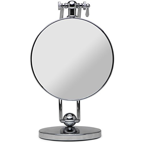 - Mirrorvana 360° Height Adjustable Magnifying Mirror for Shaving and Makeup, Double Sided 7X / 1x Magnified, 7-Inch Diameter, 11-Inch Height