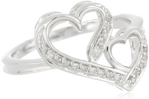 Sterling Silver Double Heart Diamond Ring, Size 7 (1/10 cttw, J-K Color, I2-I3 Clarity)