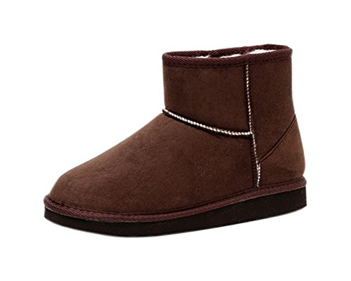 Minetom Damen Classic Schuhe Stiefeletten Winter Fur Boots Winterstiefel Warm Casual Flats Bequeme Mode Boots Kaffee